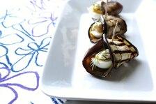 Roladki z grillowanego bakłażana z jajkiem, koprem i nutą czosnku