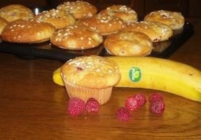 Babeczki malinowo - bananowe