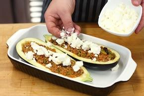 Bakłażan faszerowany mięsem mielonym i serem – krok 4