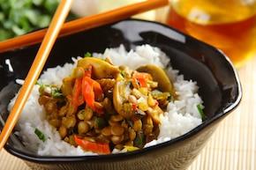 Curry z soczewicy i pieczarek
