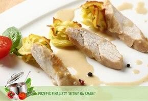 Glazurowane polędwiczki z kurczaka w aksamitnym sosie szampańskim z ziemniaczanymi ptysiami