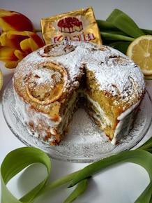 Ucierane ciasto cytrynowe z kremem