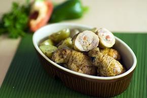 Pałki z kurczaka faszerowane mięsem mielonym i papryką