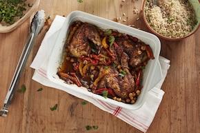 Pieczony kurczak z ciecierzycą po marokańsku
