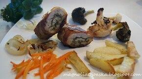 Schab z zielonym pesto i grillowanymi warzywami