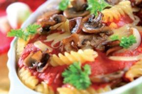 Zapiekanka z makaronem i grzybami