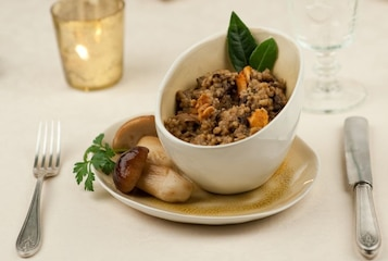 Kasza z grzybami