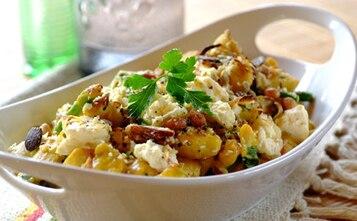 Kurczak z curry, serem feta i ryżem