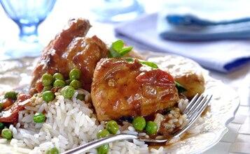 Pieczony kurczak z groszkiem