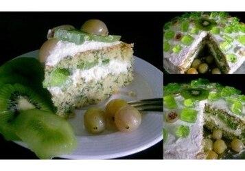 Tort Szpinakowy z Agrestem i Kiwi