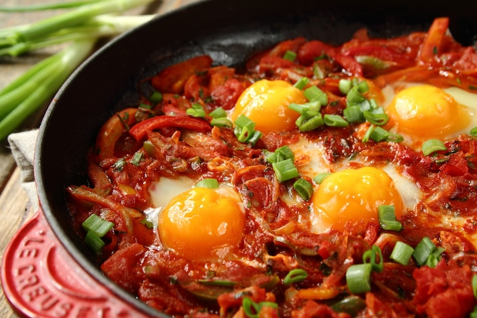 Szakszuka - bliskowschodnie jajka w sosie pomidorowym