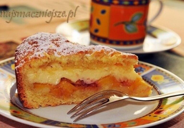 Ciasto z brzoskwiniami i budyniem