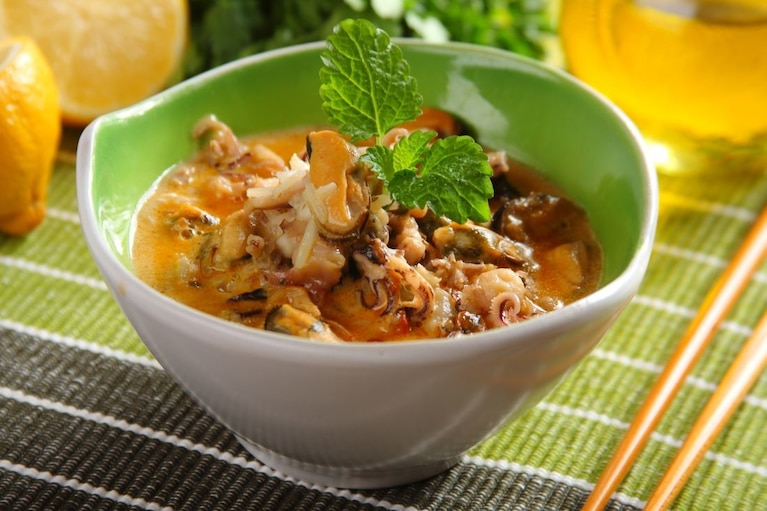 Curry z owocami morza