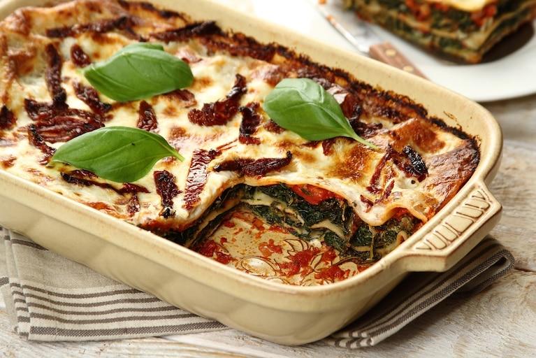Lasagne ze szpinakiem i serem kozim