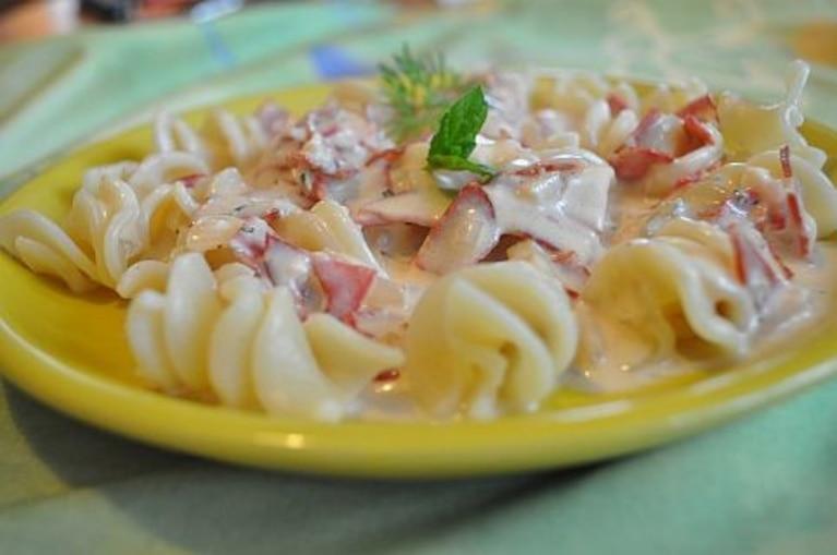 Makaron z hiszpańskim chorizo i gorgonzolą