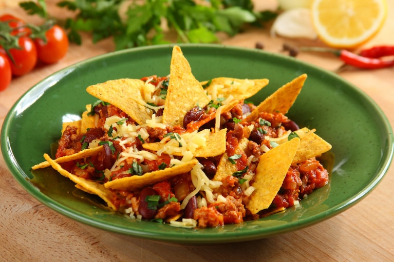 Meksykańskie nachos z chilli con carne
