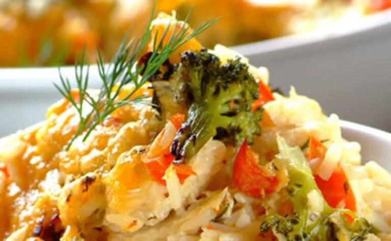 Zapiekana ryba z brokułami i słodką papryką